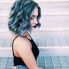 @thebetterri~~ In LOVE with this blue hair. The color, the cut, the curl. EVERYTHING. Perfection.