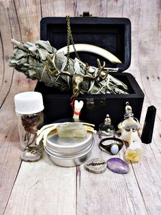 Witch Box: Curios & oddities collection. bone jewelry, crystals, blue lace agate ring, organic healing salve,fortune stones, sage bundle from Clever Kim's Curios.