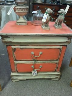 Farmhouse Paint presents it's newest color Caribbean Coral painted on this wonderful chest. Farmhouse paint.com