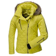 Emmegi, Alana ski jacket, women, Yellow Sportive, feminine Ski jacket to shine