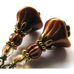 SALE, Metallic Brown Flower Earrings, Copper Flower Earrings, Antiqued... ($16) ❤ liked on Polyvore featuring jewelry, earrings, bohemian jewelry, flower earrings, flower jewelry, bohemian style jewelry and boho jewelry