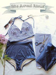 Ohhh Lulu...: Sarah & Ava Retro Swimsuit Tutorial Part 1 #sewing #DIYbikini…