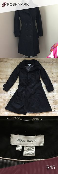 ZARA Basic long black trench coat Gorgeous! Long black trench coat. Left sleeve is missing the button, however it comes with an extra button as shown in pics. Lining is slightly ripped as shown in pics, but does not affect outside of the coat. Zara Jackets & Coats Trench Coats