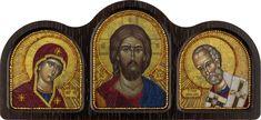CE6005 Triptych the Theotokos, Savior, Nicholas the Wonderworker