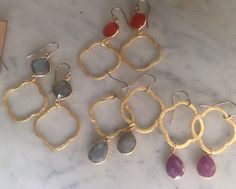 Gold Brushed Quatrefoil and Stone Earrings by trebelladallas, $42.00