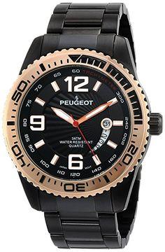 Peugeot 1030BK - Reloj para hombres, correa de acero inoxidable color negro