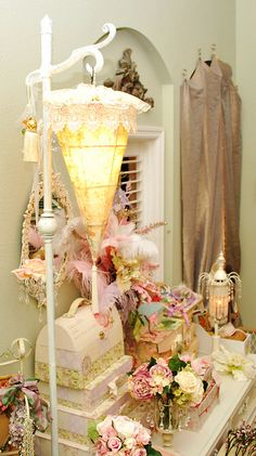 Romantic shabby chic lamp by Bellafaye, via Flickr