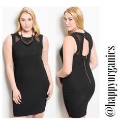 Black Bodycon Dress Chic, Classic and sultry. This is such a great dress with mesh paneling and a peekaboo back detail. Made in USA. Fabric content 50% Cotton 50% Polyester. 100% of the profits from any sale in my closet are donated to help someone in need. Naturally Spiritual Boutique Dresses Midi