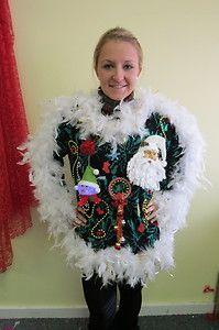 Festive Frock Frankenstein Foo Foo Light Up Dress Ugly Christmas Sweater Women M   eBay
