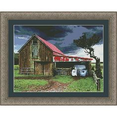 Old Barn in a Storm Counted Cross Stitch - A vintage car is snuggled beneath the old barn roof. Quilt Kits, Snuggles, Cross Stitch Embroidery, Needlepoint, Vintage Cars, Needlework, Old Things, Barn, Quilts