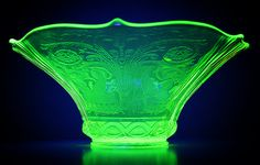 Vaseline Bowl by le papillon   glows under black light