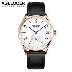 AGELOCER Luxurious Men's Mechanical Gold Plated Self-Winding Military Watch