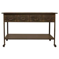 WIsh I had a good place for this. Rolling metal console table in distressed brown. Product: Console tableConstruction Material: MetalColor: Distressed brownDimensions: H x W x DNote: Assembly required French Industrial, Joss And Main, Beautiful Homes, House Beautiful, Console Table, Home Furnishings, Entryway Tables, Home Goods, Buffet