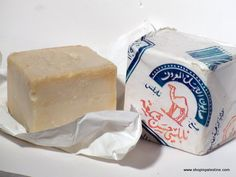 """Saboneh el nabelsiyeh """" Nablus Soap ( This very mild and moisturizing soap, made from top-quality local olive oil, is especially suited for dry and sensitive skin. Good for both face and body. Made the same way and in the same factories in Nablus that have been producing it for decades, under the Jamal (Camel) label. Please note that the cut is a large cube, and olive oil soap produce ."""