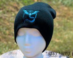Pokemon Go Beanie Mystic Team adult Toboggan Hat Skull Cap Winter Warm Head Accessory Black Blue Embroidered