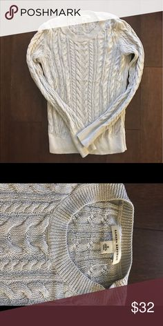 Shimmer Silver Cable Knit Sweater -BR Banana Republic : lightweight silver and shimmer sweater.  Size Small. Smoke free home. Make it yours !! Banana Republic Sweaters Crew & Scoop Necks