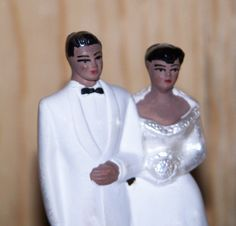 Vintage 1950s Chalkware Wedding Cake Topper