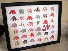 scrapbook paper art. Maybe not elephants but I like the idea.