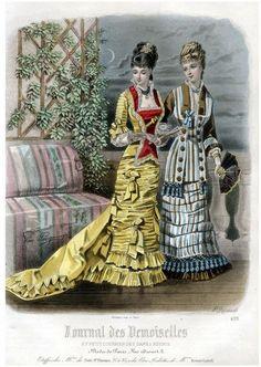 Journal des Demoiselles 1877 - fans (closed & open), hats