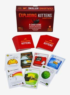 Exploding Kittens Card Game Two Person Card Games, Single Player Card Games, Solo Card Games, Gift Card Games, Math Card Games, Set Card Game, Card Games For Kids, Playing Card Games, Game Cards