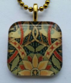 William Morris 'Bullerswood' carpet detail - glass pendant and chain by MyStrawberryThief on Etsy