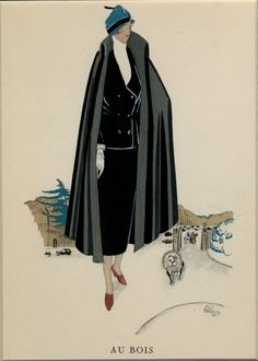 Au bois (from Gazette du Bon Ton), 1925 by Madeleine Rueg | Shop original vintage #posters online: www.internationalposter.com Art Deco Posters, Vintage Posters, Fashion Posters, Woodblock Print, Modern Fashion, Illustrators, Black And White, The Originals, House Styles