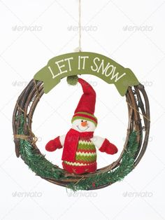 let it snow christmas wreath ...  artificial, background, beautiful, branch, bright, brown, carrot, celebration, christmas, clothes, cold, cut, cute, day, decoration, decorative, design, dressed, frame, funny, fuzzy, gift, gloves, green, happy, hat, holiday, image, isolated, man, nose, red, round, scarf, season, shape, smile, snow, snowman, string, symbol, texture, toy, wallpaper, white, winter, wood, wooden, wreath, xmas