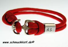 Geschenk Freundin, rotes Armband in Maßanfertigung mit Wunschinitialen gestempelt von www.Schmuckkistl.de auf DaWanda