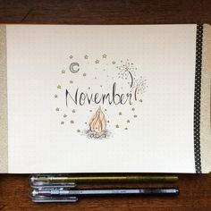 November! 🌙🌠✨ Ready for cold dark evenings and bonfire night 🎆🔥🎇 #bulletjournal #titlepage #bujo #landscapebulletjournal #novemberbujo