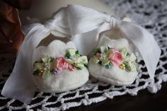 This is such a beautiful, handmade gift for le bebel, using ribbon work and silk ribbon embroidery