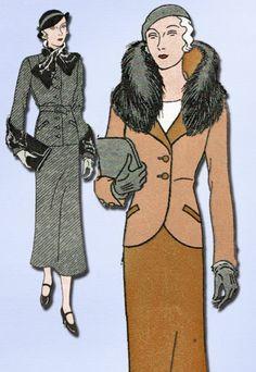 1930s High Fashion Fur Suit Pattern Unused 1932 Butterick Sewing Pattern Sz 28 B | eBay