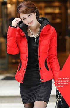 Women New Thick Winter Korean Down Jacket Slim Warm Outwear Padded Hooded Black