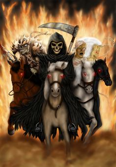 War is inspired by Western Paladin by fantasy artist C. Four horsemen of Apocalypse Don't Fear The Reaper, Grim Reaper, Dark Fantasy Art, Dark Art, Monster Pictures, Life Size Statues, Horsemen Of The Apocalypse, Angel Of Death, The Grim