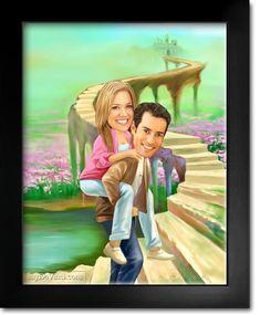 Fairytale Romance Caricature from Photos Caricature From Photo, Caricature Drawing, Housewarming Gifts For Couples, Romantic Couples, Cotton Canvas, Fairytale, Art Photography, Romance, Meme