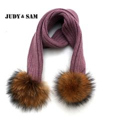 Eight Colors Cute Children Soft Warm Scarves Brand Winter Must Have Appareal Accessories Knitted Scarf Fur Pom Pom Decoration