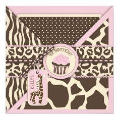 Cupcake Birthday Invitations Pink Safari Giraffe & Cupcake First Birthday Card