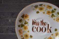 Vintage Upcycled Decorative Plate Kiss the by bostoninachinashop