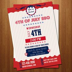 4th of July summer BBQ party invitation by ElleOL on Etsy
