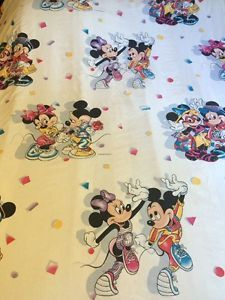 Mickey Mouse Minnie Twin Flat Sheet White Walt Disney CO Tourist Rose Dancing | eBay