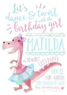 Ballerina Dinosaur Birthday Party Invitation Printable, Dance & Twirl with the Birthday Girl Invite, Ballet, Tutu, Dancing Dino  Invite your