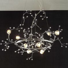 """Picture of 32"""" Albero Modern Crystal Round Branch Chandelier Polished Chrome 8 Lights"""