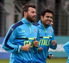 "Eder of Italy (R) smiles during the training session at ""Bernard Gasset"" Training Center on June 18, 2016 in Montpellier, France."