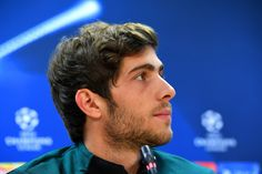 Sergi Roberto of FC Barcelona speaks during a press conference ahead of the UEFA Champions League group C match against Borussia Monchengladbach at San Joan Despi training ground on December 2016 in Barcelona, Catalonia. Barcelona Catalonia, Fc Barcelona, Barcelona Training, Sergi Roberto, Uefa Champions League, Conference, Crushes, December, San