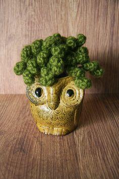 Crochet houseplant in vintage ceramic pot by Kyla D'Aubbonnett of Bristle Design www.facebook.com/bristledesign