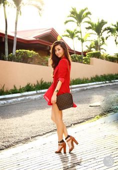 love this red dress...whole look...WANT IT