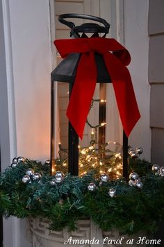 Fill the lantern with electric lights instead of a candle