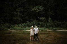 Waterfall Engagement Photos. Adventurous Engagement. Brad and Jen Photography.