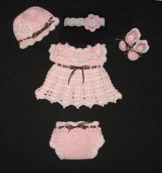 Crochet Diaper Dress Set for Baby Girl with Dress, Diaper Cover, Booties and Hat. $28.00, via Etsy.