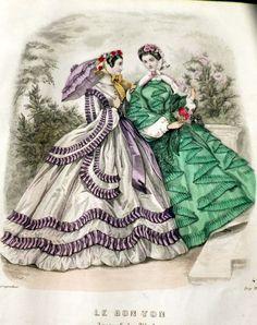 1862 Civil War Era FRENCH FASHIONS ENGRAVING Handcolored Original Bon Ton 1800s   eBay