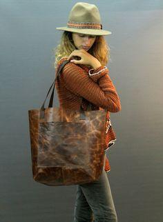 Sale Large leather tote bag Leather bag Monogram por PLGdesigns